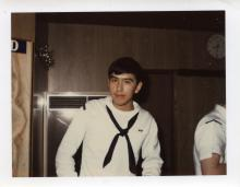 Photograph of Hoonah Veteran Harvey Lindoff in Navy Whites