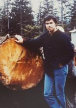 Johan Dybdahl with Cut Log