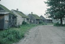 Wooden Houses and Dirt Road, Hoonah, Alaska, 1976