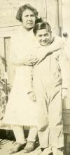 Jenny Malcom holding Eddie Metz