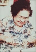 Master Weaver Annie Lawrence Working on Spruce Root Basketry